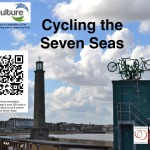Four green bikes leap towards the sky, from a central point, on top of a lookout at the end of Margate's Harbour Arm.  QR code links to virtual layer at www.recyculture.co.uk and search 'Cycling the Seven Seas""